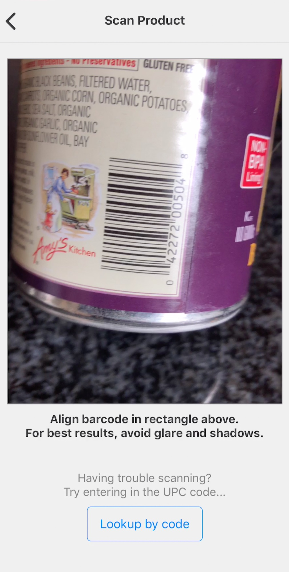 Scan Product Barcodes - Foods are looked up in a comprehensive food database for nutrition and ingredient information