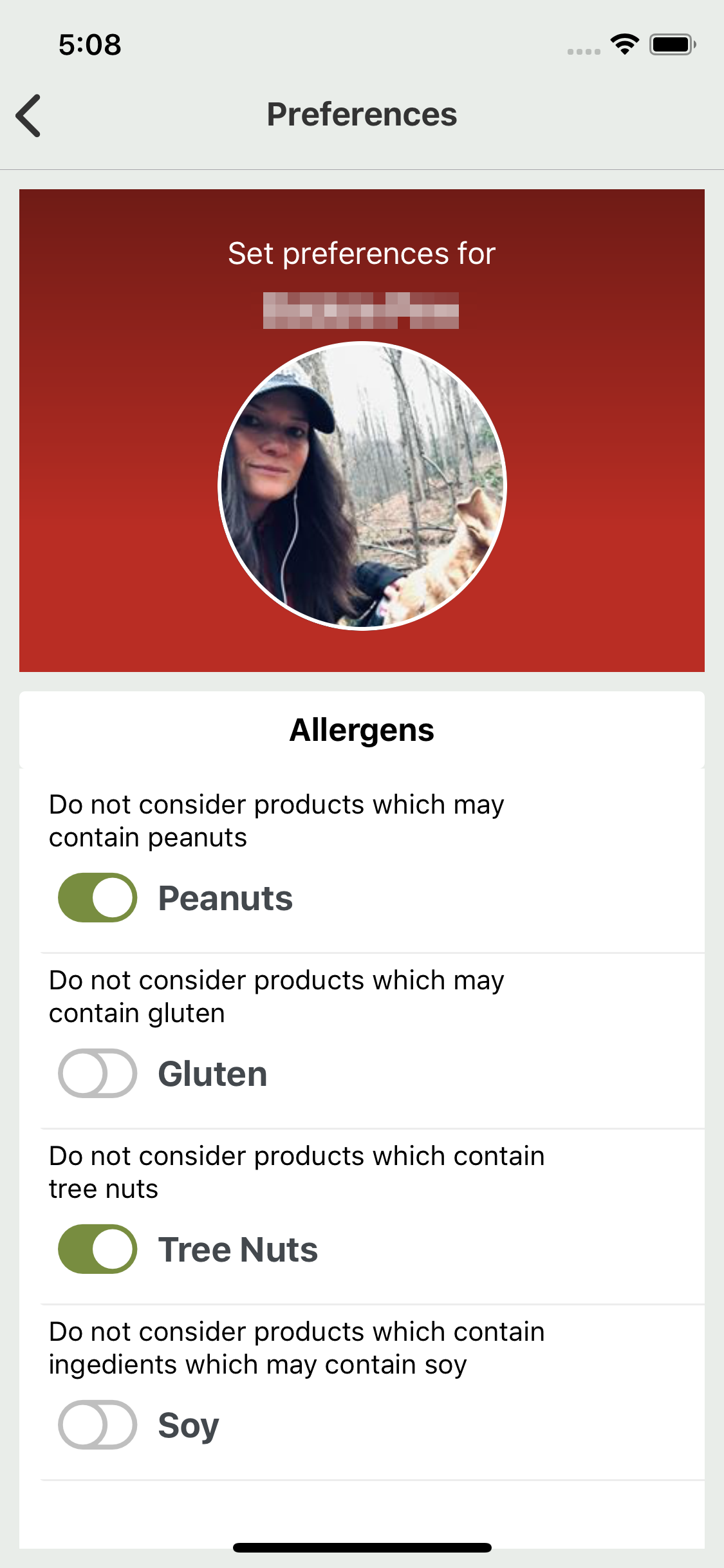 Preferences - Users can choose their dietary requirements.
