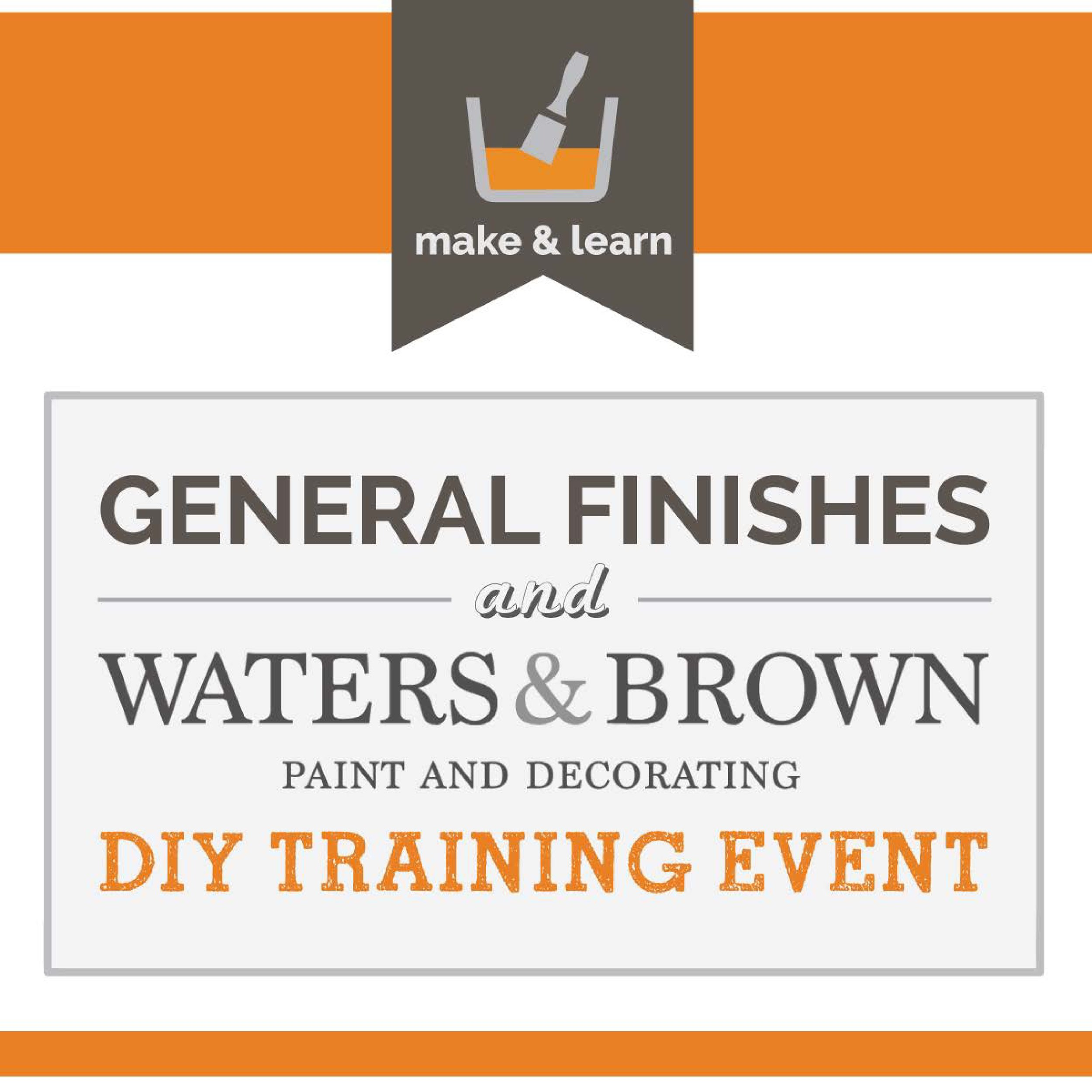 Wednesday, December 5, 2018  10:00 a.m. to 4:00 p.m.  Waters & Brown – Salem Store  281 Derby Street  Salem, MA 01970  This event is focused on training and educating all levels of hobbyist, DIY users, and professional decorative painters who would like an introduction to General Finishes Milk and Chalk Style Paint product lines. Training covers application and usage of GF's products, including glazes, top coats, and water-based stains. Finishes include a variety of faux and other professional types of applications.  Click  here  to register.