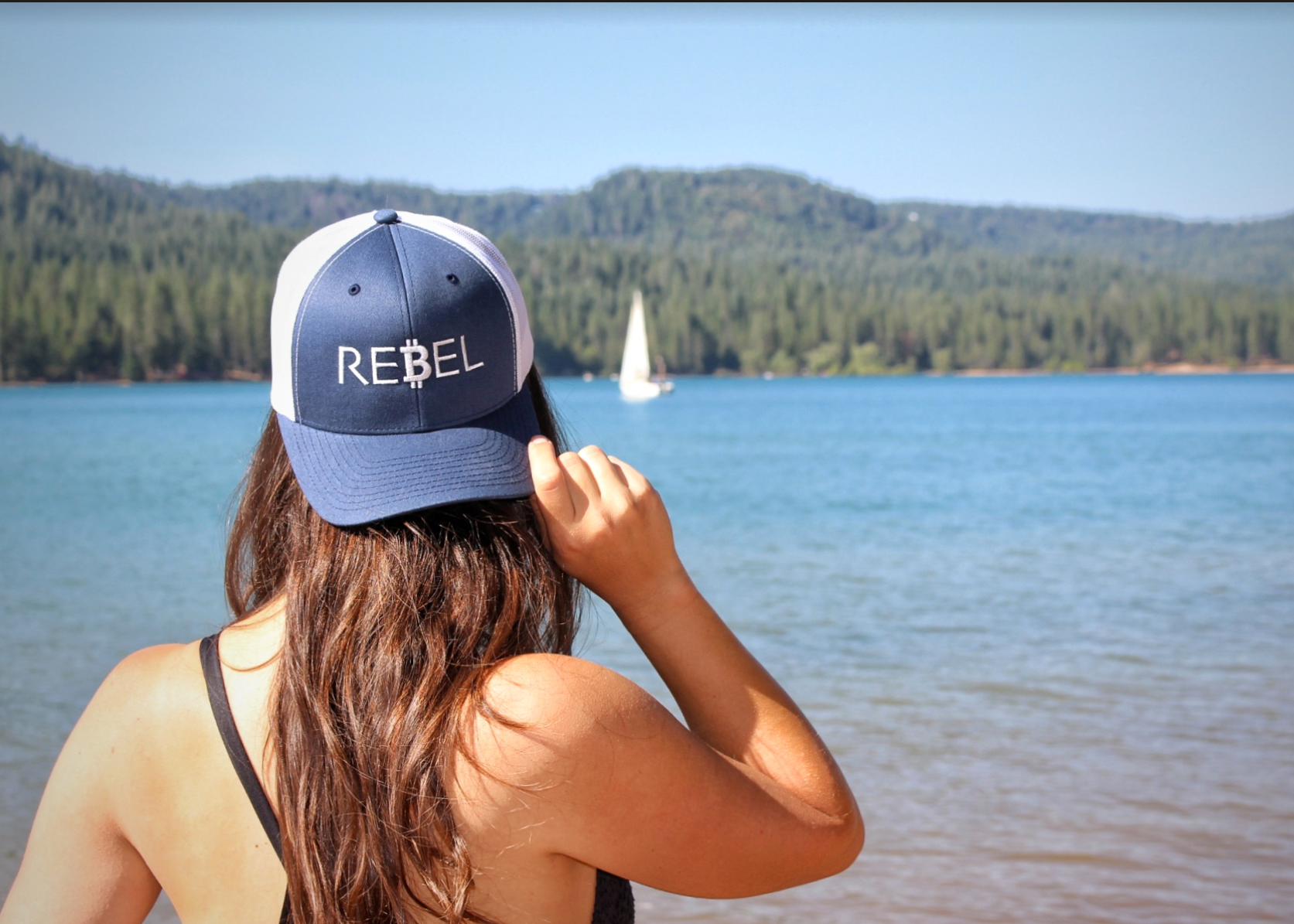 Bitcoin Rebel trucker hat featured in our Etsy shop, The Crypto Savvy Shop