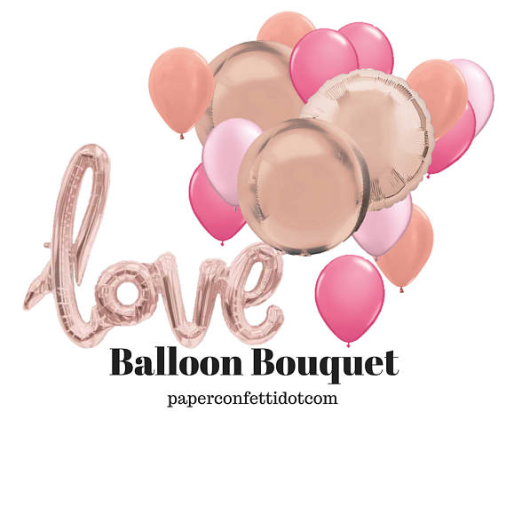 Medium Bouquet  - Ten mini balloons - Eight standard size balloons - Four metallic balloons - Option to add on foil word or number pr substitute for other balloons.   Completely customisable for your event. Simply fill in the enquiry form below and let us know what you are after.