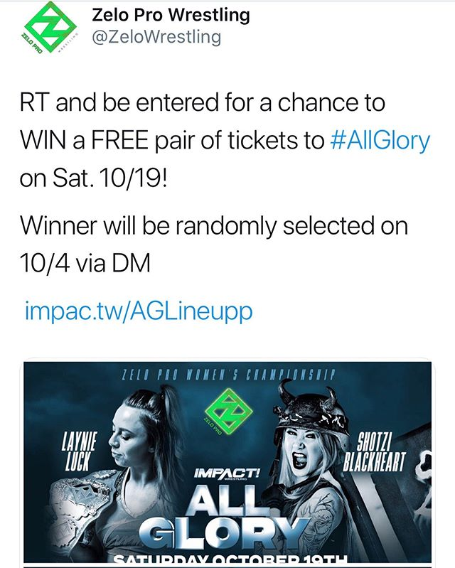 Head over to twitter.com/ZeloWrestling to enter!