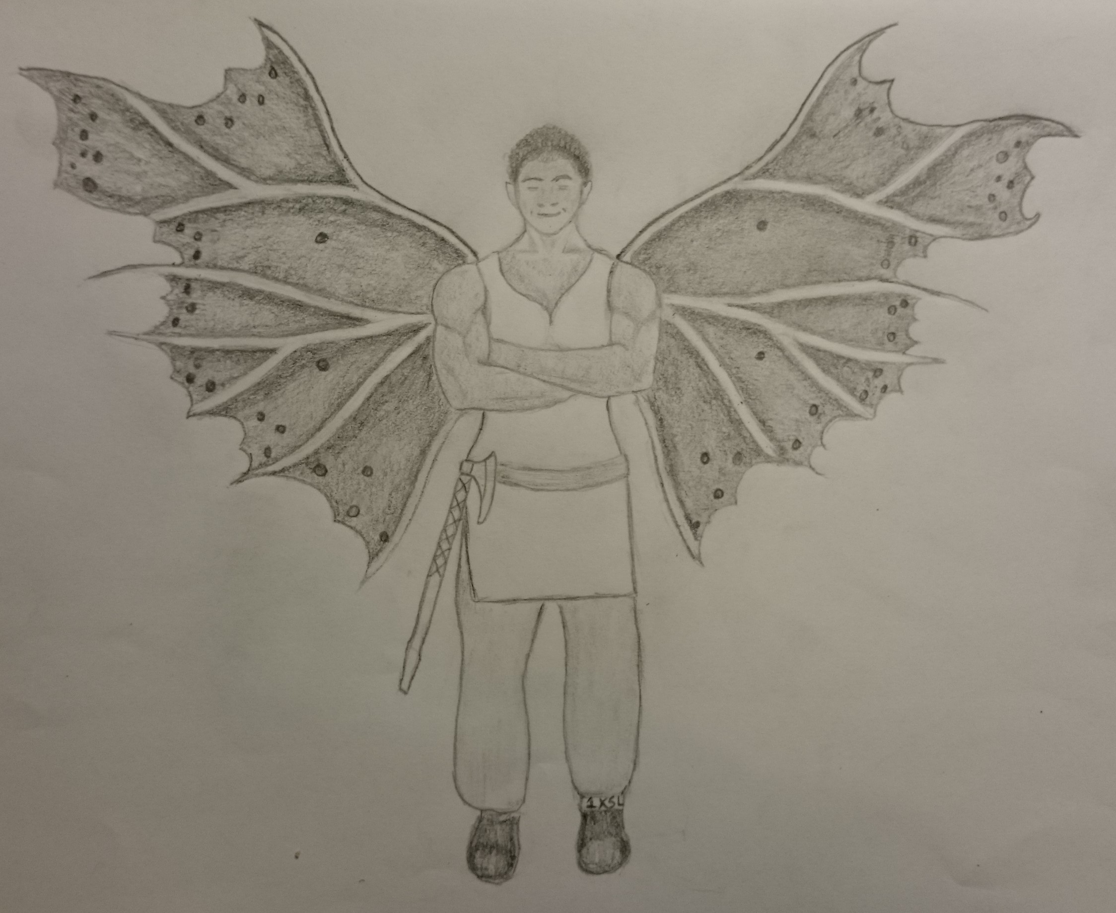 A grey and white rendering of Sadie by the incredibly talented LM. Sadie is standing with a soft smile on her face, muscular arms crossed over her chest as she expands her elaborate, midnight-speckled, beautifully-veined wings. Her simple white tunic is crossed by a belt at her hips, from which her axe hangs loosely. LM credits frozenstocks over on deviantart with the inspiration for the wing-pattern, here --http://frozenstocks.deviantart.com/art/UNRESTRICTED-Fairy-Wings-2-463861066