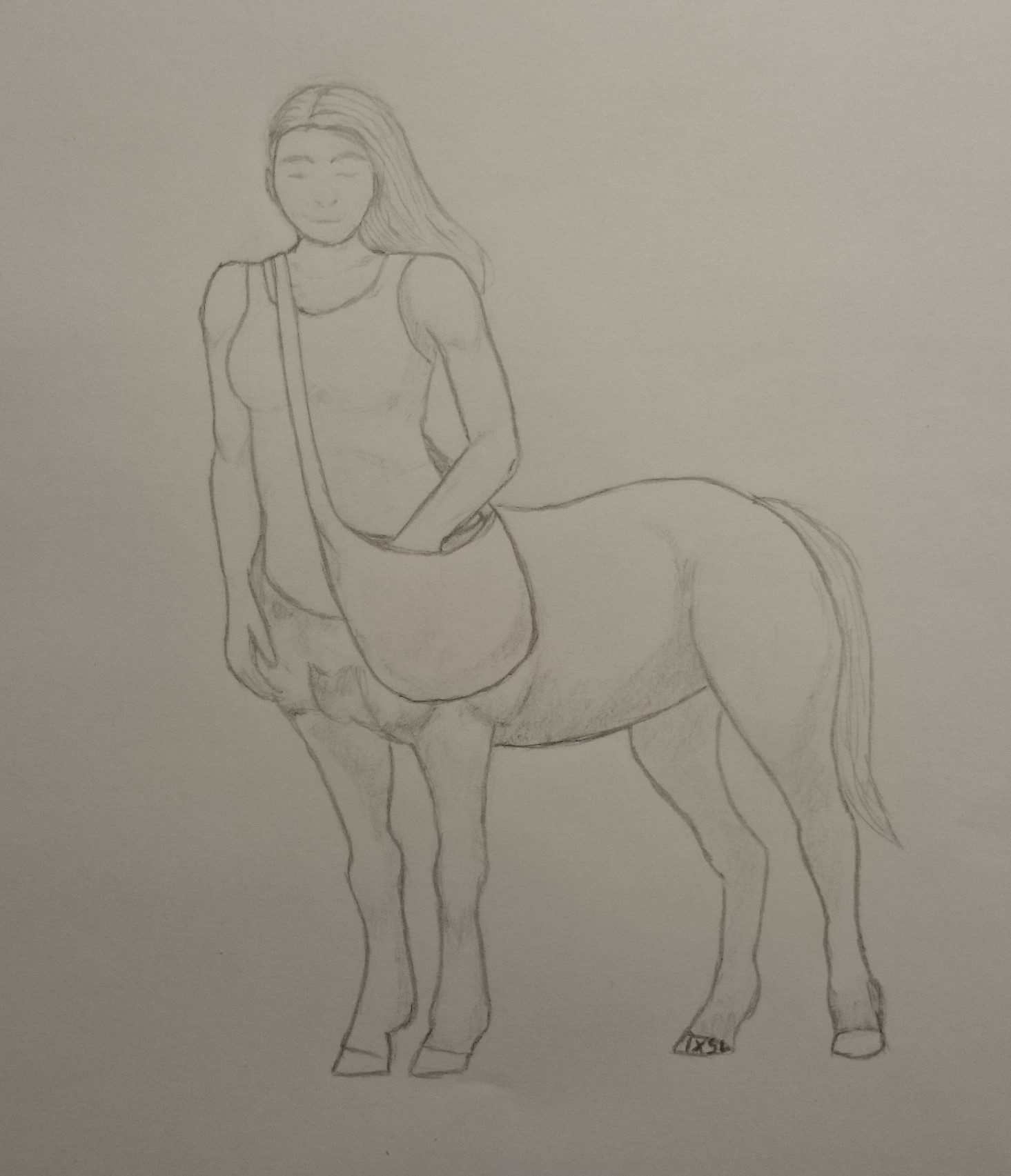 A grey and white rendering of Lerian, featured with a subtle smile on her face. Her straight hair is loose and hanging down to her back, and while one of her hands rests at her side, her other reaches into the simple satchel slung over of chest. Her hind legs (she's a centaur) are muscular and her tail rests calmly as she stands still, possibly deep in thought. By LM.