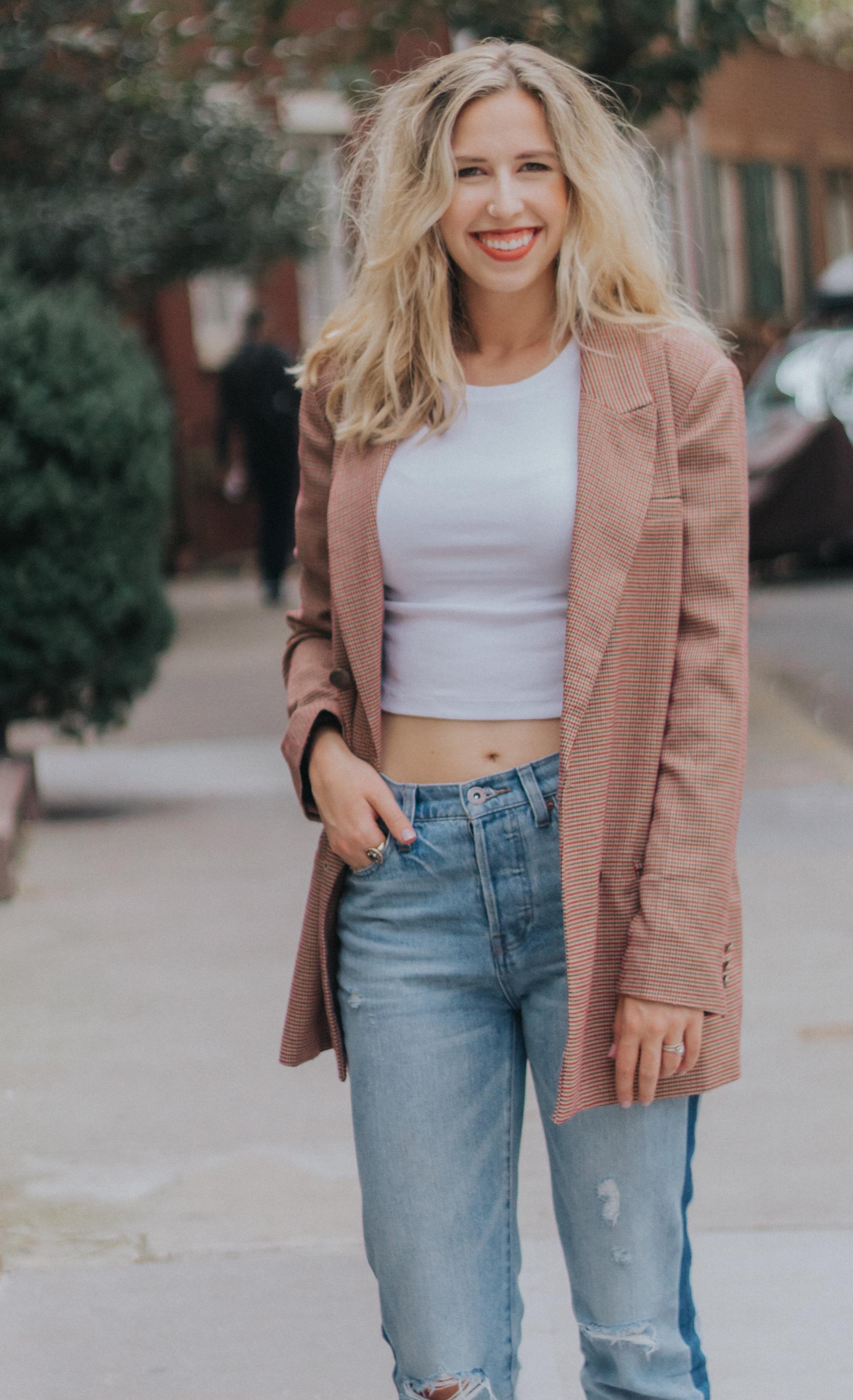 Simple Fall Look (Blazer + Crop Top) | The Simplistic Chic