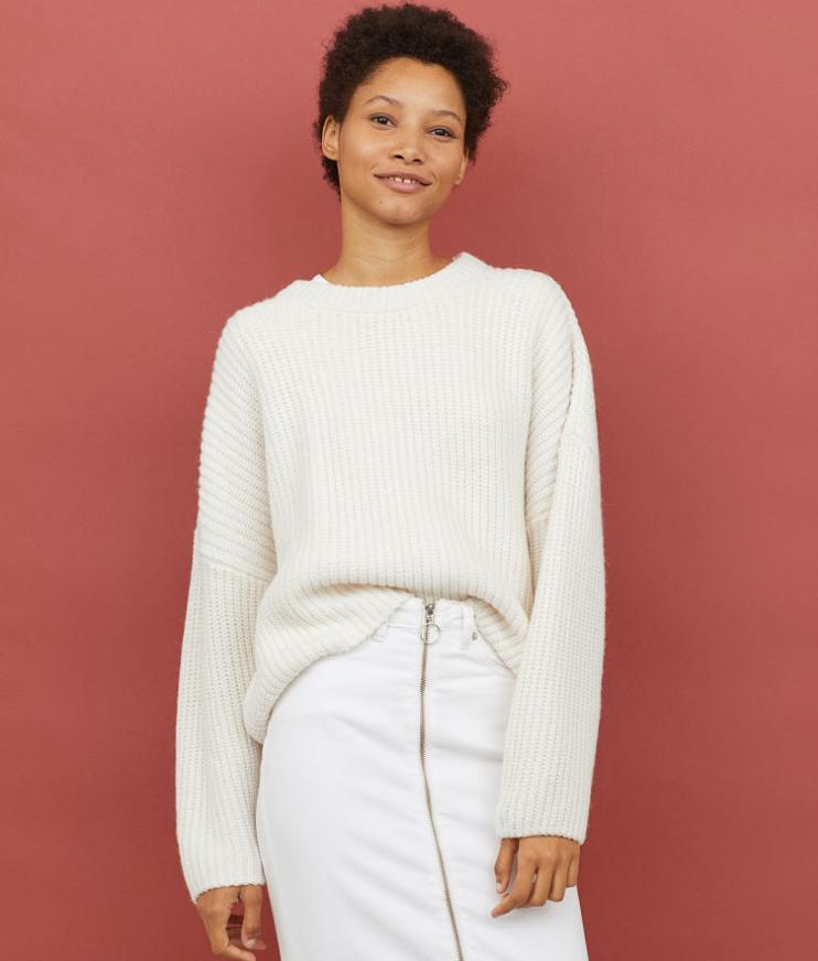 H&M White/Cream Sweater