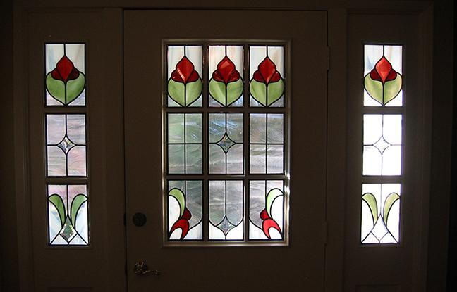 Front door glass design flowers