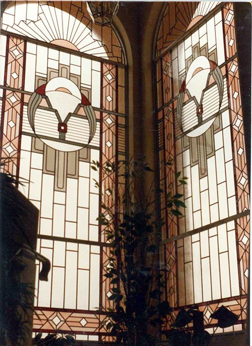 Stained glass art film church corner windows
