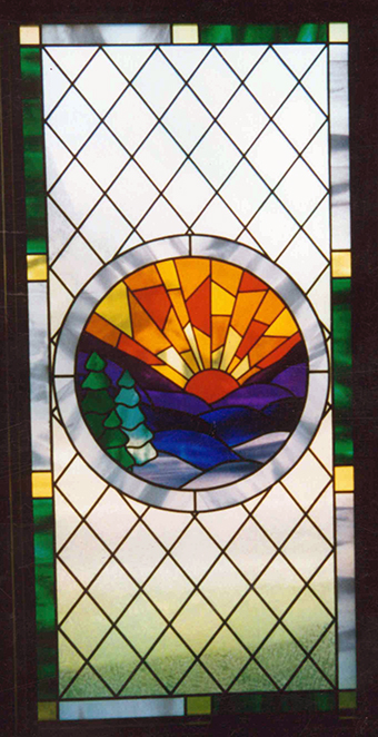 Stained glass art film small window church