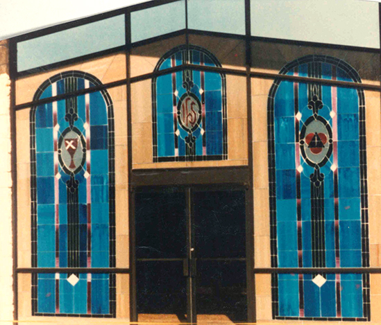 Stained glass art film front of church