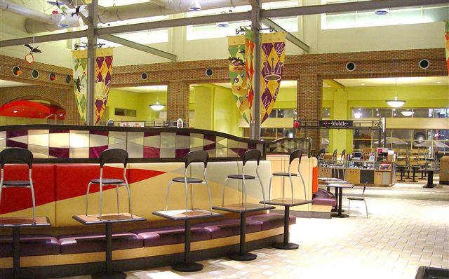 Artisan glass design mall food court
