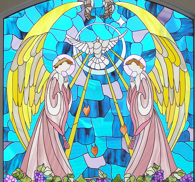 Stained glass art film angels dove