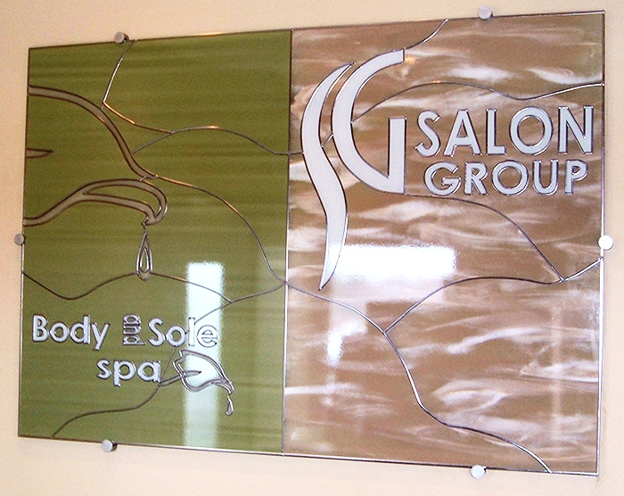 Corporate branding using stained glass art film