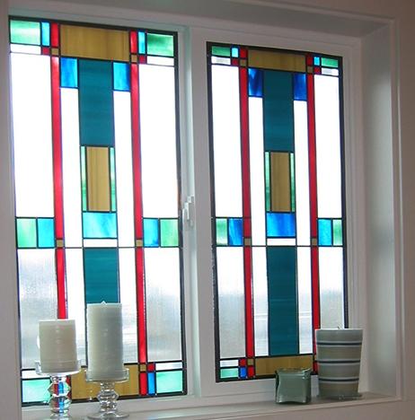 Stained glass art film bath window blue green