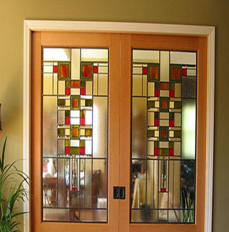 Stained glass art film interior door prairie inspired
