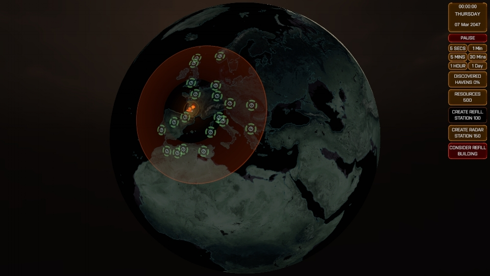 A screenshot of the Geoscape from the start of the campaign, with some unknown points of interest visible around Phoenix Point.
