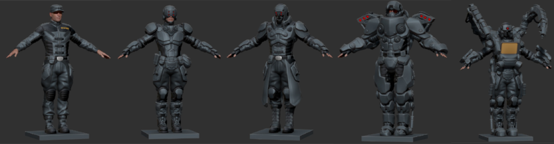 First-pass models for the New Jericho faction. Uniform, Assault, Sniper, Heavy and Technician.