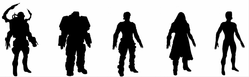 Silhouette concepts for the Technician, Heavy, Assault, Sniper and Infiltrator.