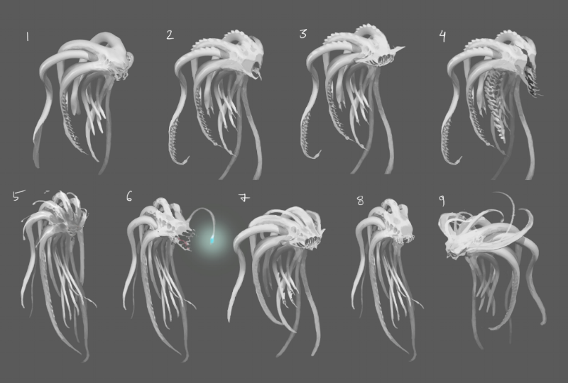 Concepts for different variations of the floating creature