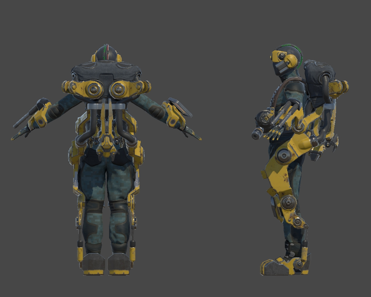 The Technician, now with his un-deployed turret stowed beneath the power pack of the exosuit.