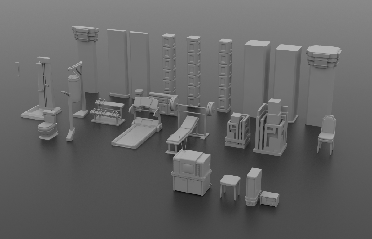 A small sample of New Jericho interior prop assets