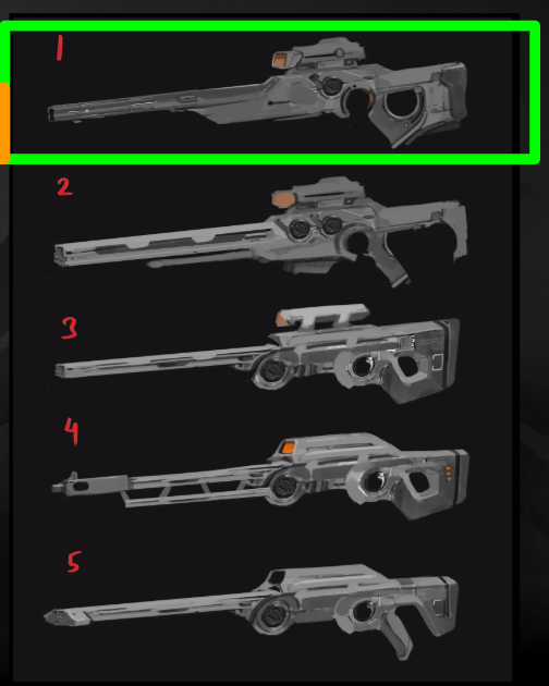 Concept variations for the Phoenix Project Sniper Rifle