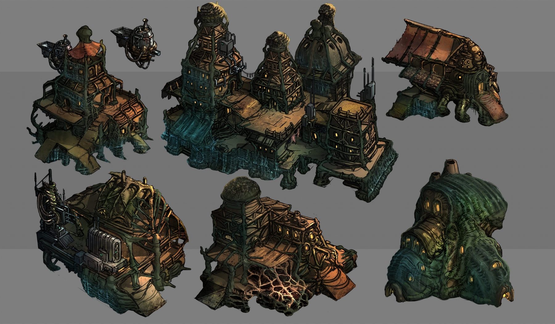 A selection of concept buildings from the Slum district of a Disciples Haven
