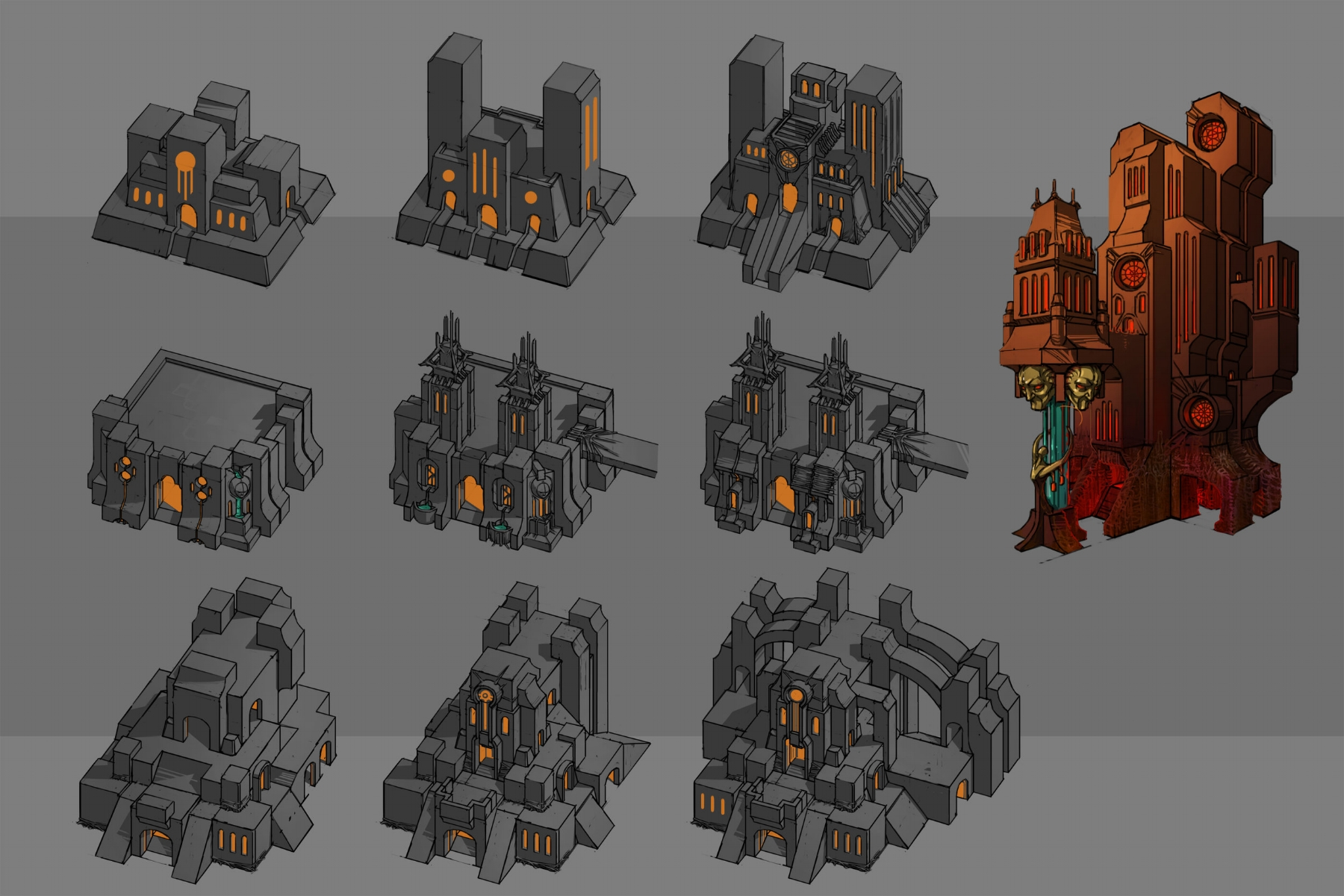 Various levels of temple buildings
