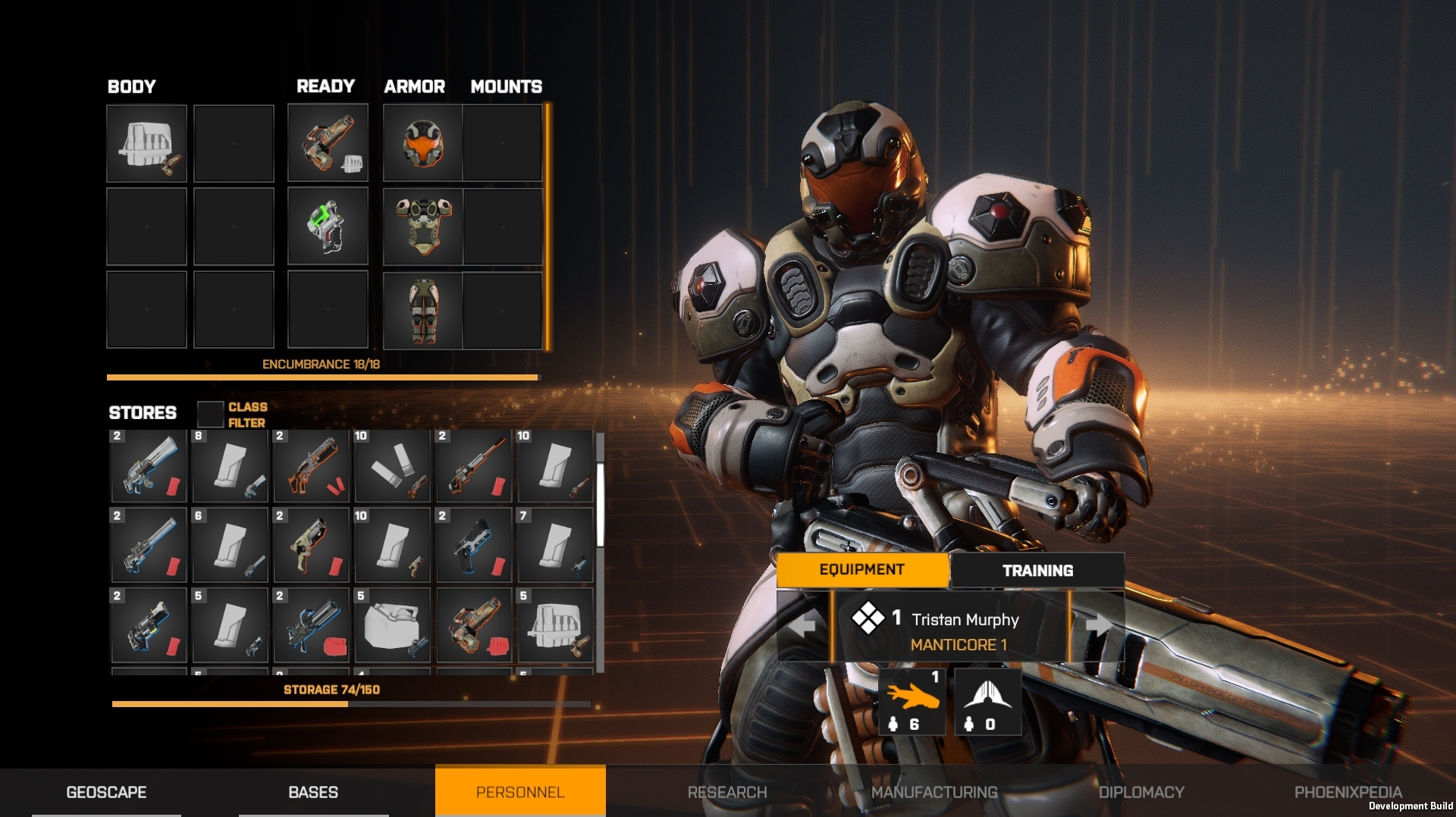 Inventory Management and Equip screen