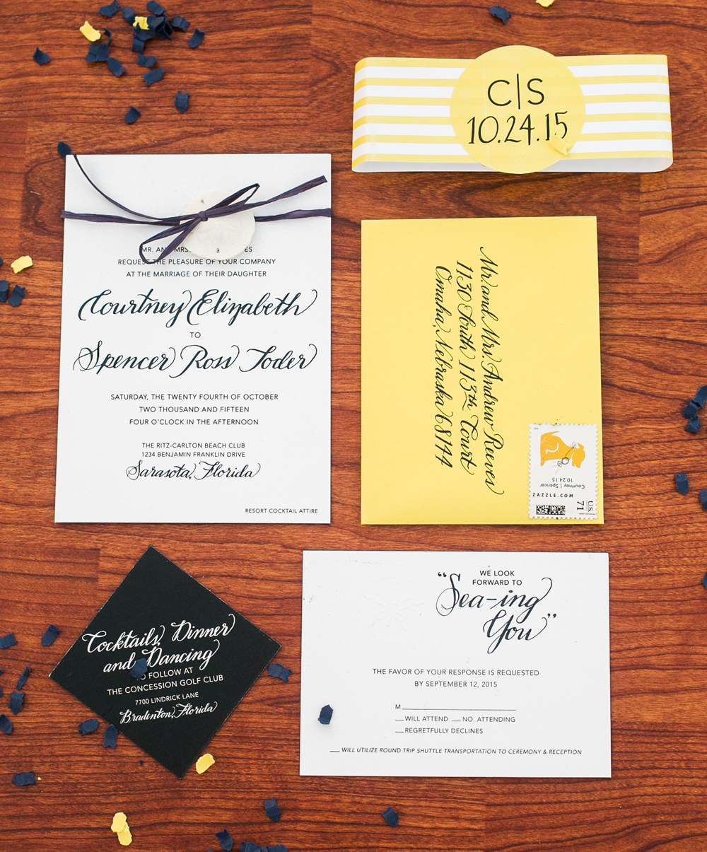 Seaside wedding suite   This navy, yellow, and white wedding suite was done in collaboration with  Courtney Winet Design .