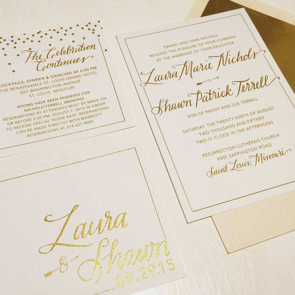 Elegant gold wedding suite   This champagne and iridescent gold raised ink wedding suite was done in collaboration with  Courtney Winet Design .