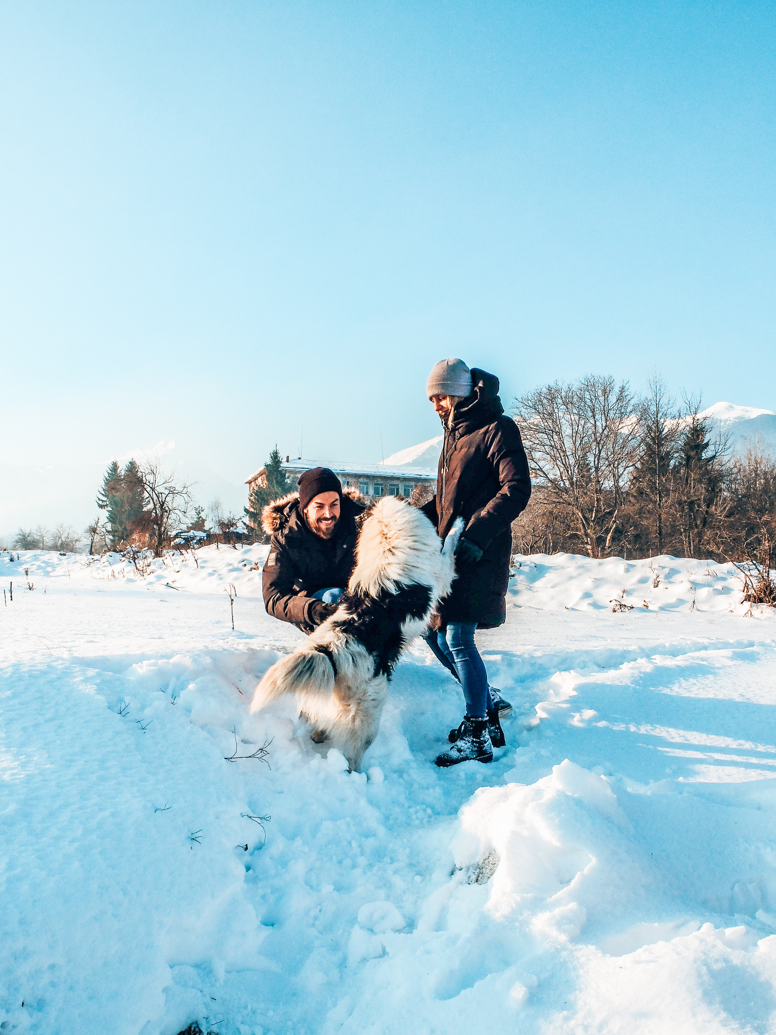 Bansko - couple with dog in snow