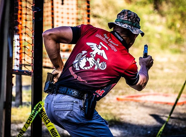 Here is my hands down favorite shot from the weekend.  Sgt Lorino from the Marine Corps Action shooting Team on stage 4 at the Area 5 Championship.  This is frame worthy.  #redstitchtargets #2a #pewpewlife #hardaswoodpeckerlips #uspsa #competitiveshooting #actionshootingteam #marineshooters #marines #marinecorps #semperfi #marinerecruiting
