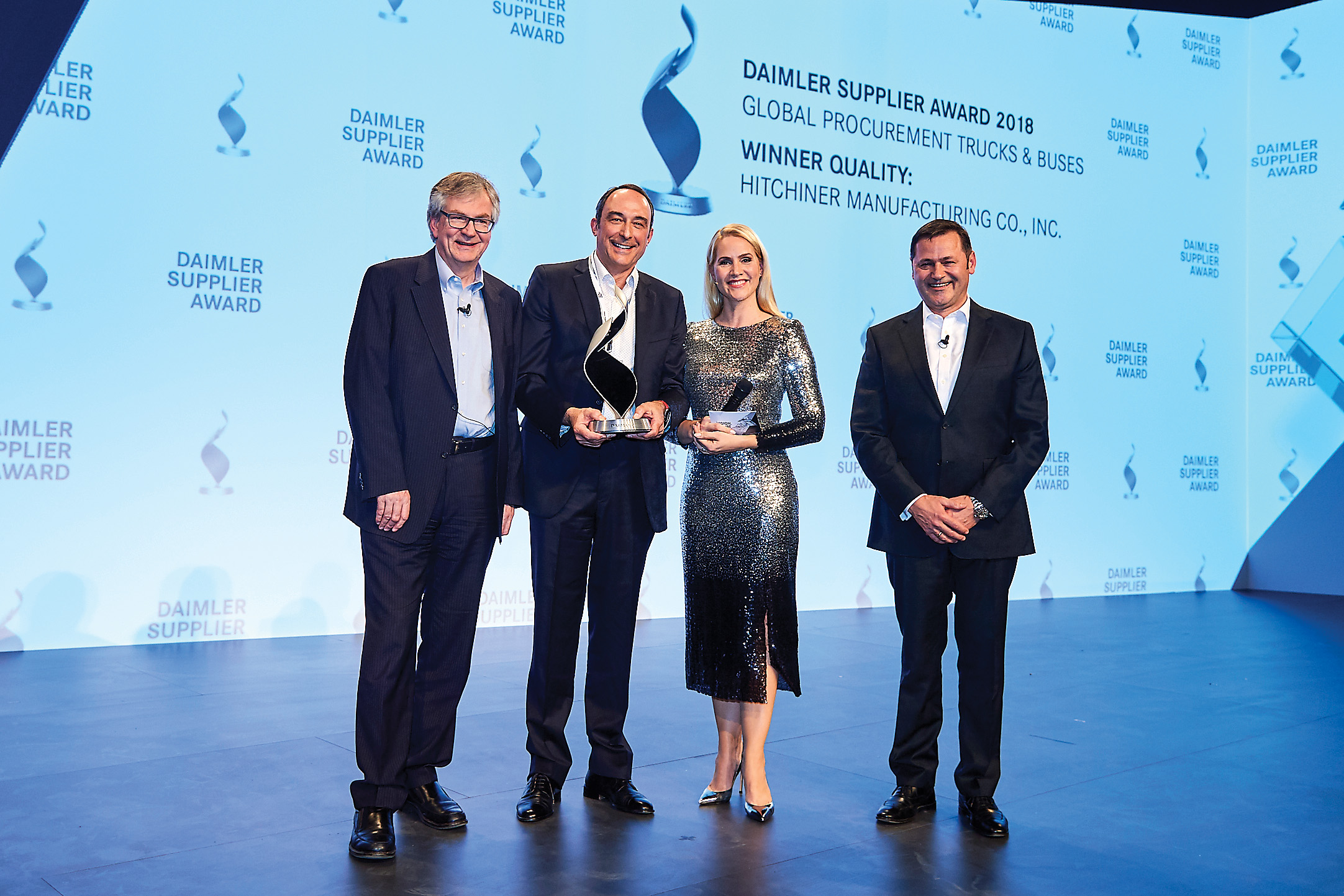 Pictured left to right: Martin Daum, Member of the Board of Management of Daimler AG Daimler Trucks & Busses; John H. Morison, III, Chairman & Chief Executive Officer, Hitchiner Manufacturing Co., Inc.; host Judith Rakers; Dr. Marcus Schoenenberg, Vice President Global Procurement Daimler Trucks & Busses