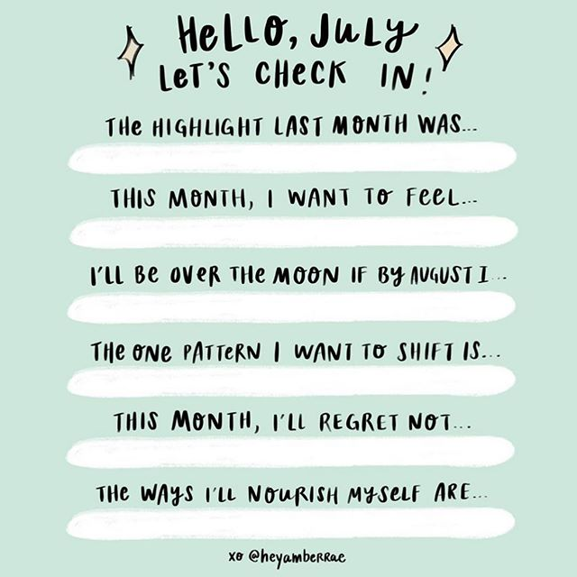 Happy July! We love this check in made by the amazing @heyamberrae — feel free to screenshot and tag us both. Or comment below with some of your June reflections... what was your highlight? What's something you'd like to shift? How are you going to nourish yourself? 💁🏼‍♀️ We're looking forward to new moon intentions, summertime routines, fresh farmers market hauls, toasting anniversary's and milestones, and spending time gathered around our tables with people (and animals) that make our hearts go boom 💕 happy Monday friends 🙏🏽 #newmonthvibes #themustachemesa #joinusatthetable