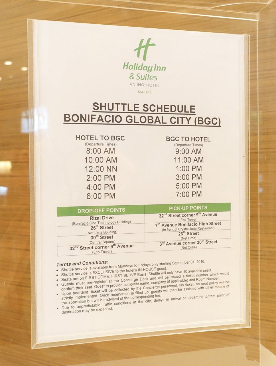 - Daily schedule between Holiday Inn & Suites Makati and BGC