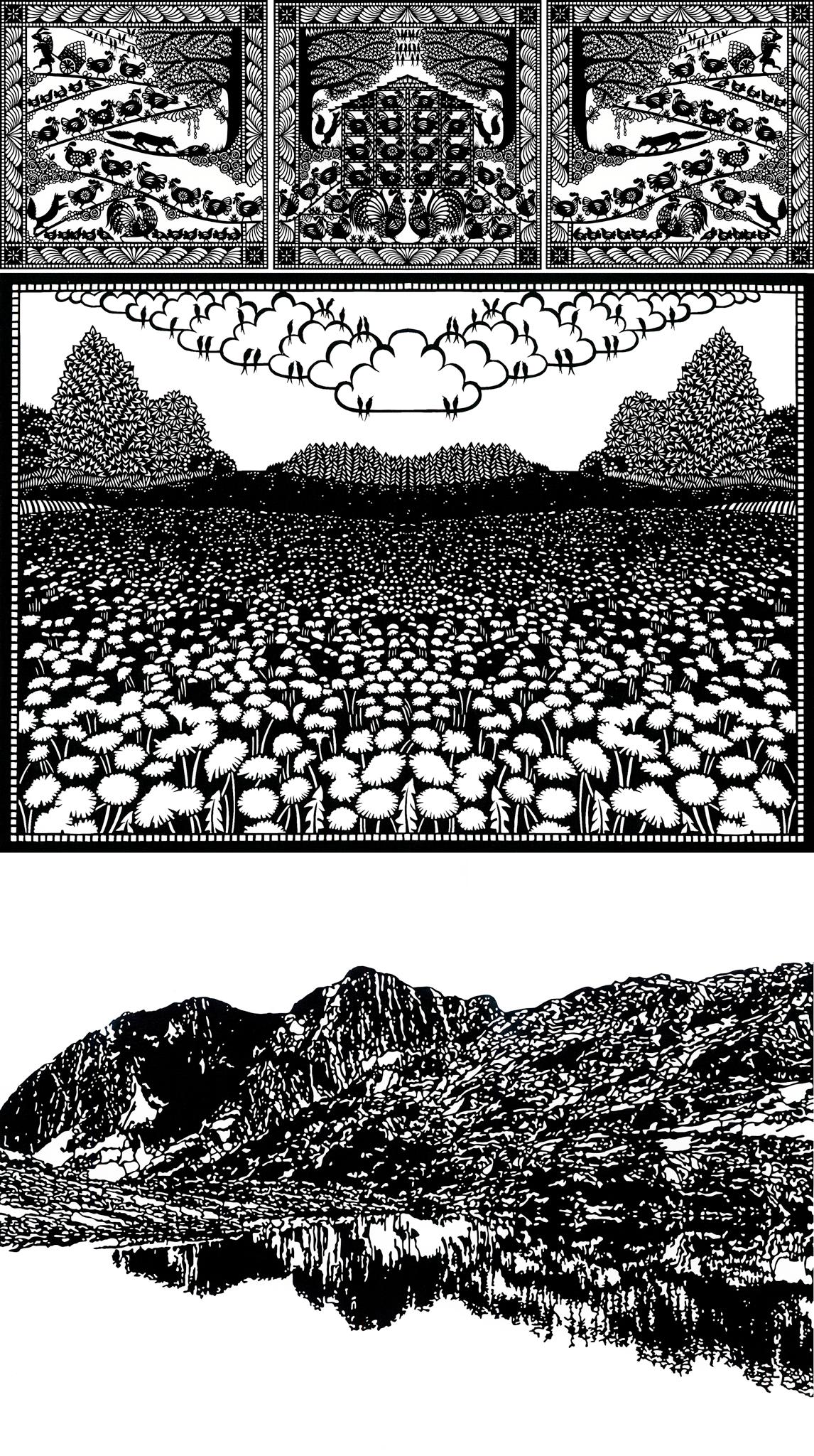 Meine Arbeit - Die allgemeine Vorstellung von Scherenschnitt beinhaltet vor allem Alpaufzüge, schwarze Silhouetten und symmetrische Bilder. Als ich vor mehr als 10 Jahren mit Papierschnitten angefangen habe, benutzte auch ich die klassische Falttechnik. Ich habe mir jedoch vorgenommen, nie einen Alpaufzug zu schneiden. Inspiriert durch die Natur und Bergwelt habe ich mehr und mehr angefangen mit Strukturen zu arbeiten. Sehr bewundere ich die Holzschnitte von Emil Zbinden und Franz Gertsch. Nach und nach habe ich meinen eigenen Stil entwickelt. Heute arbeite ich hauptsächlich mit Fotos als Grundlage für meine Motive. Die Fotos entstehen auf Wanderungen und Bergtouren in der Schweiz oder auch auf Reisen im Ausland. Oft fotografiere ich schon mit 'Scherenschnitt'-Augen. Längst nicht jedes Motiv ist nämlich eine gute Vorlage für einen interessanten Scherenschnitt. Die Bilder müssen kontrastreich und strukturiert sein. Es ist auch eine Herausforderung eine Komposition zu entwerfen, die ein zusammenhängendes Stück Papier ist und nicht in Einzelteile zerfällt.