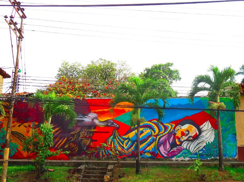 Despierta! Felipe Ortiz & Oscar Arango, 2016.  13ft x 52ft mural in Cali, Colombia. Acrylic vinyl and spray paint on wall.