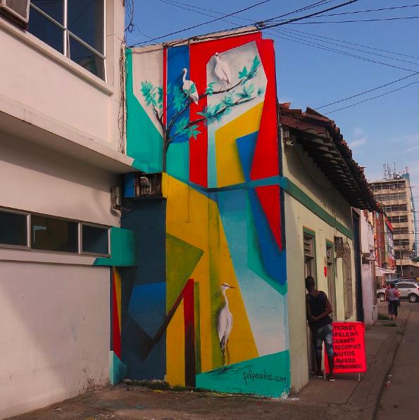 Felipe Ortiz, 2017.  Mural in El Piloto, Cali, Colombia.