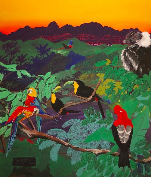 """El trópico entró a Boston,"" Felipe Ortiz, 2016.  10' x 8' Vinyl and Acrylic paint.  (Indoor mural commissioned by Cambridge Innovation Center)"