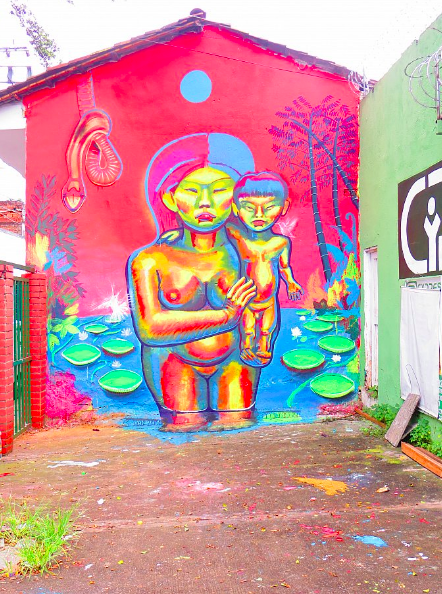 """Felipe Ortiz, Diego Velasco, Alberto Velasco """" Pachamama"""" 18' x 12' Acrylic vinyl and spray paint on wall, 2016. (Outdoor mural commissioned by Umya store in Cali, Colombia)"""