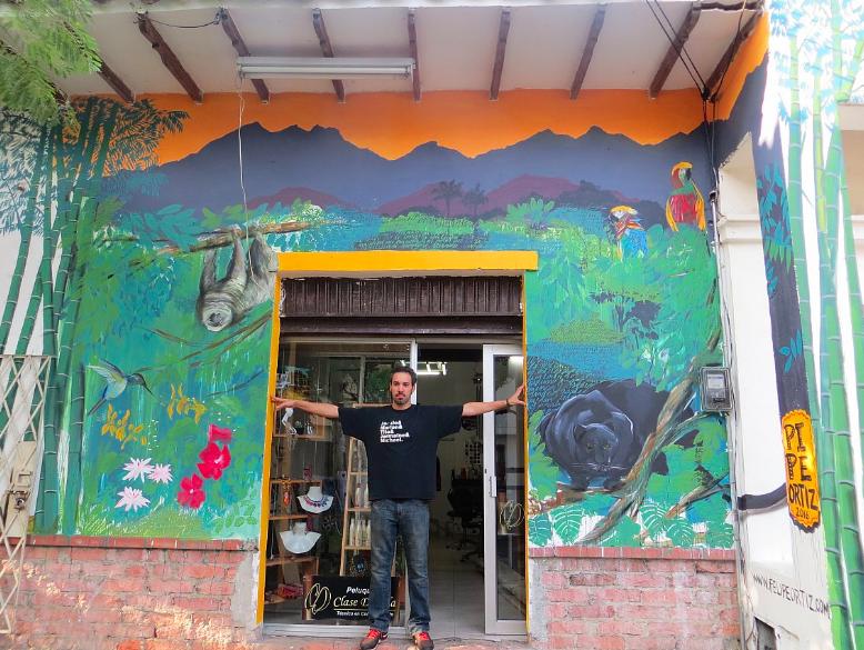 "Felipe Ortiz "" Algo nuevo en San Fernando viejo"" 13' x 15' Acrylic vinyl and spray paint on wall, 2016.  (Outdoor mural commissioned by Reverso Art in Cali, Colombia)"