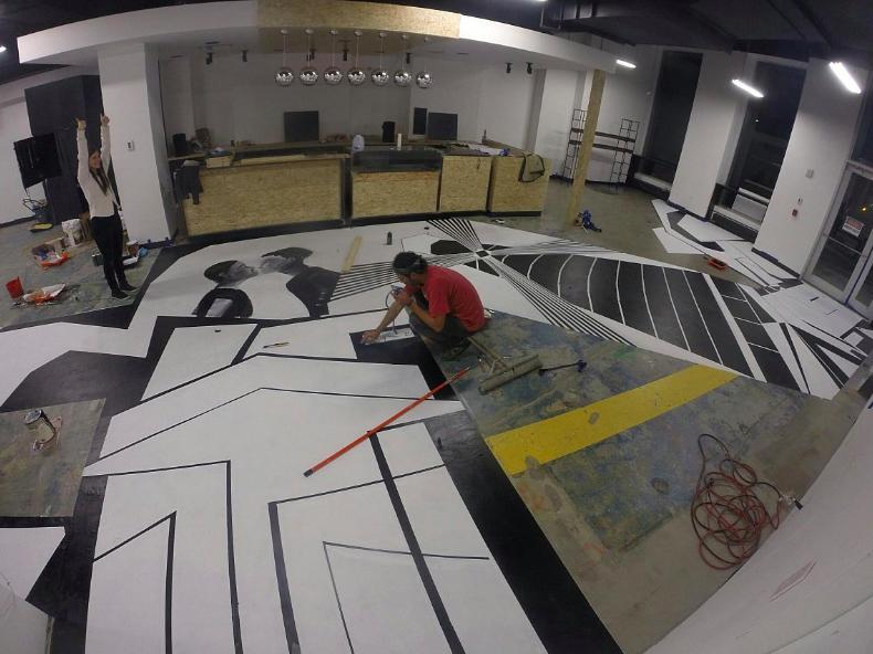 """Render Coffee Floor Mural"""" at CIC Boston, Felipe Ortiz, 2015.  ~100 sqft. Vinyl floor paint and spray paint."""