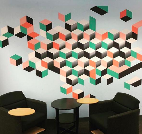 """Design Town.""  Felipe Ortiz, 2018. 20x12 feet, acrylic paint."