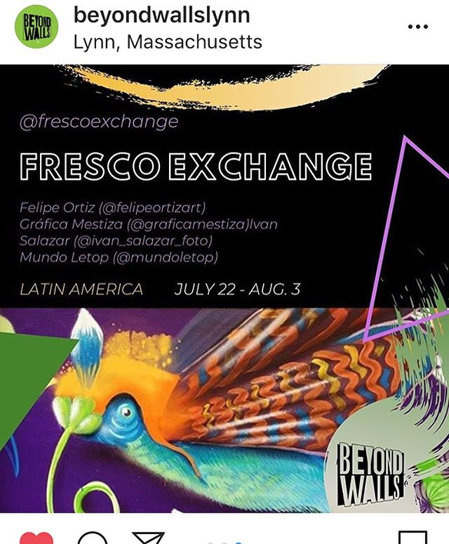 Very excited to be participating in @beyondwallslynn this summer. We'll be painting Lynn in two weeks... stay tuned to see our progress, Our street level mural circuit and the Latin American pasteup project brought to you by @graficamestiza. Thank you so much to all who support this effort. #art #mural #streetart #fineart #colombianart #juntosesmejor #artfestival