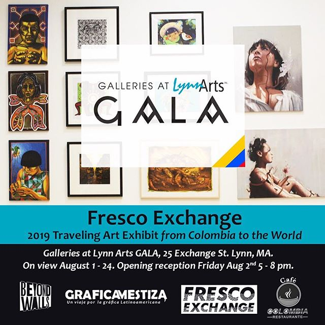 ART EXHIBIT at @galleriesatlynnarts during our participation at @beyondwallslynn. Opening reception Friday 6-8 pm. Panel discussion with @graficamestiza at 5pm. The exhibit will be on view on Saturday as well during Rock the Block party as we close this amazing street art festival. Thank you all and hope to see you there. #artgallery #artcollector #artforsale #artcollection #contemporaryartgallery #beyondwallslynn2019 #frescoexchangetour #graficamestiza