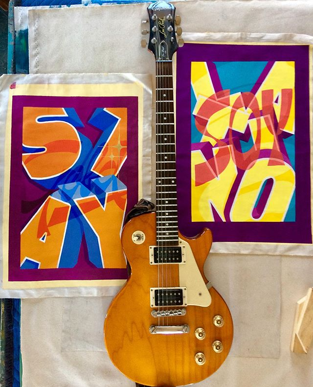 Soy Latino & Stay Gold by @gabrielmesek, beautiful lettering. Available for you! Dm for inquiries. (Guitar not included;) Thanks to all participating artists, and supporters. #artcollector #contemporaryart #artgallery #bostonart #artcollective #artforsale