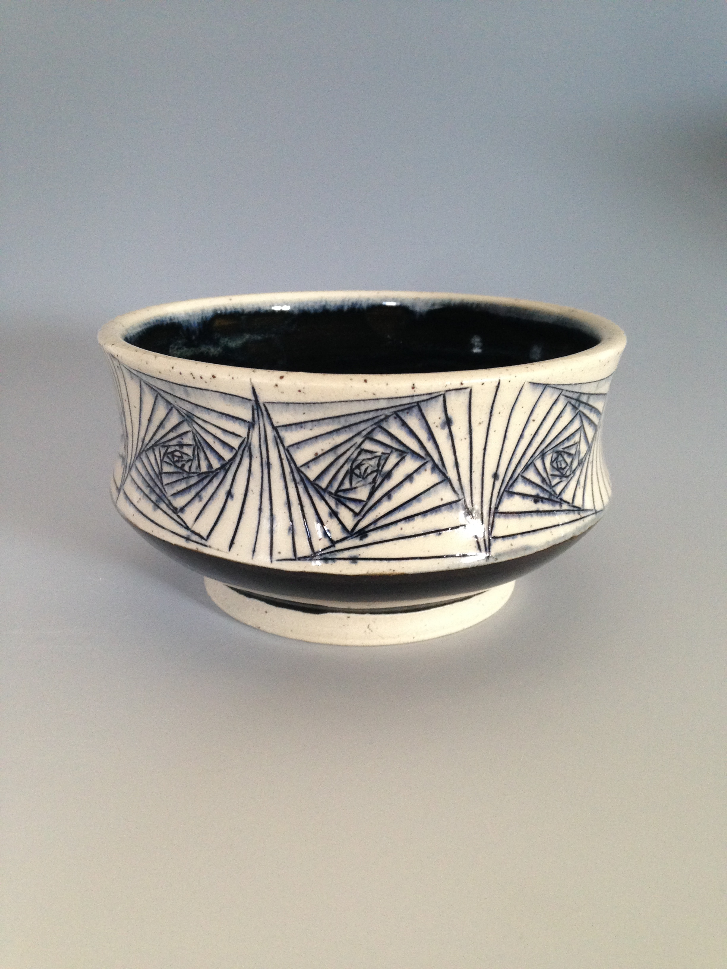 "Incised Spiral Bowl $28      Diameter-4.75"" Height 2.5"""