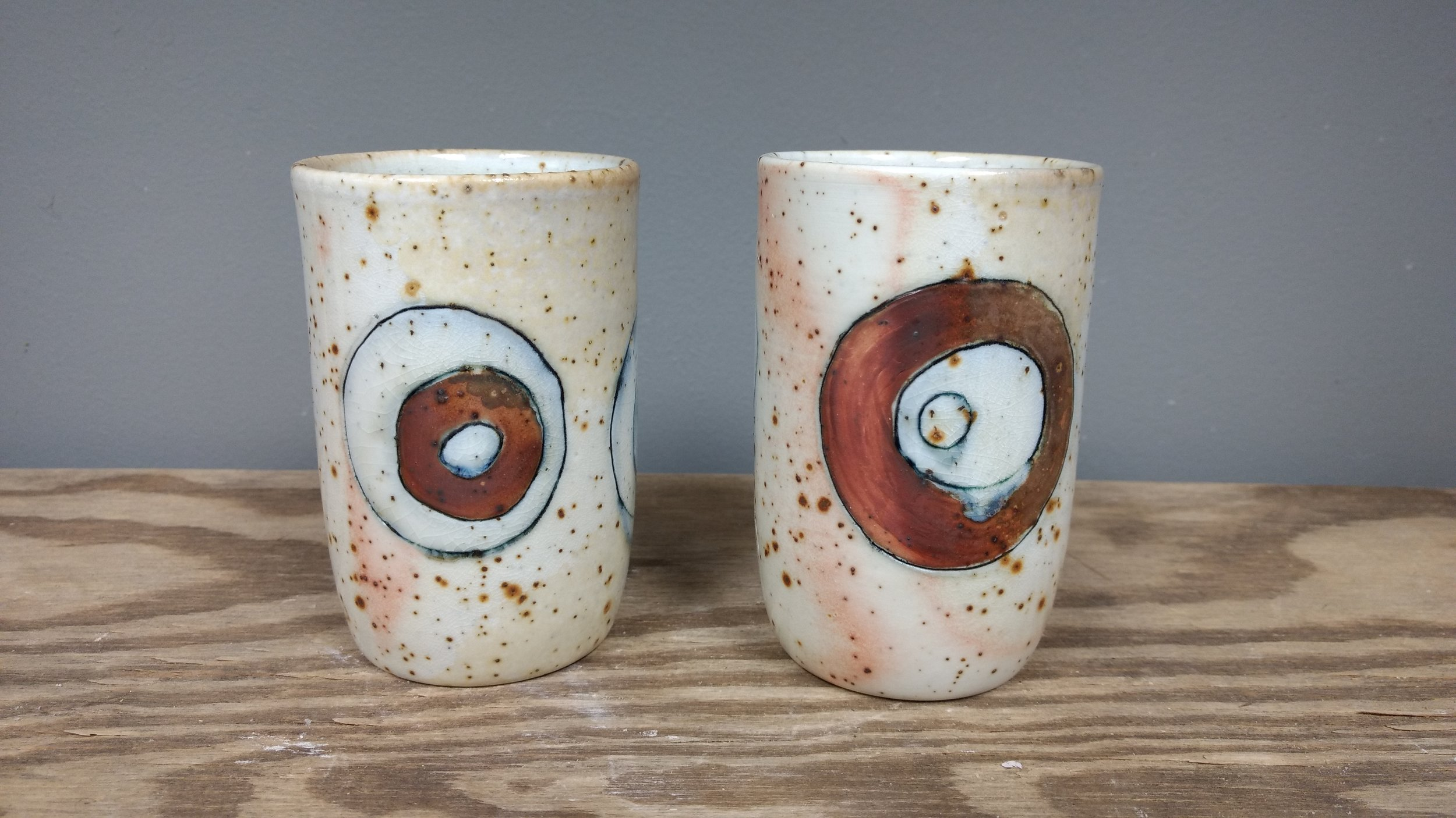 Circles Tumblers $38 ea.   Wood fired speckled sand porcelain 10 oz.