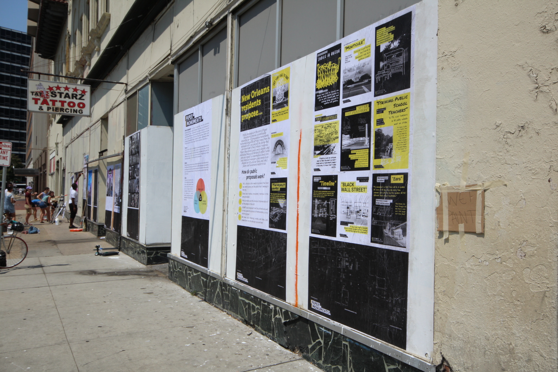 Public proposal panels installed at the Rampart Street site.